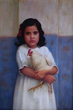 """My Sister Pratibha with her Pet Hen"""