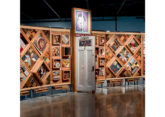"Detail of ""Witness Blanket"" shows a door from a residential school. (photo by Jesse Hlady)"