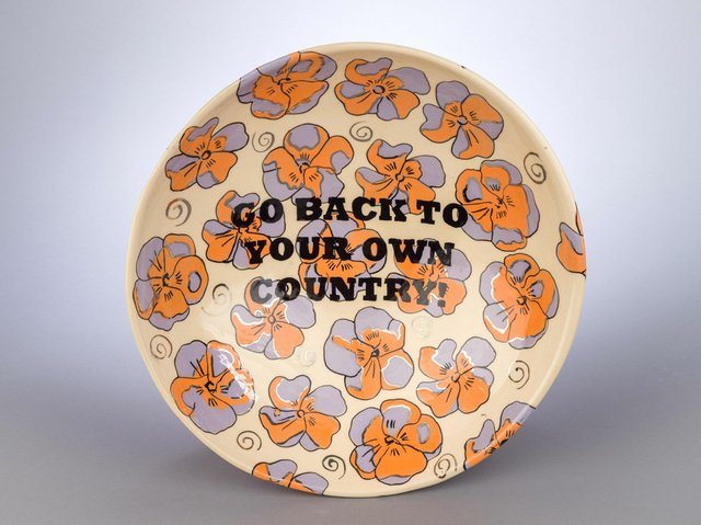 """Judy Chartrand, """"Go back to your own Country,"""" 2016 (Rennie collection; photo by Alina Ilyasova, courtesy of UBC Museum of Anthropology)"""