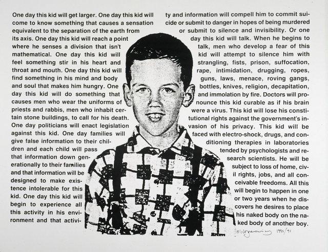 """David Wojnarowicz, """"Untitled (One Day this Kid),"""" 1990-91/2018"""