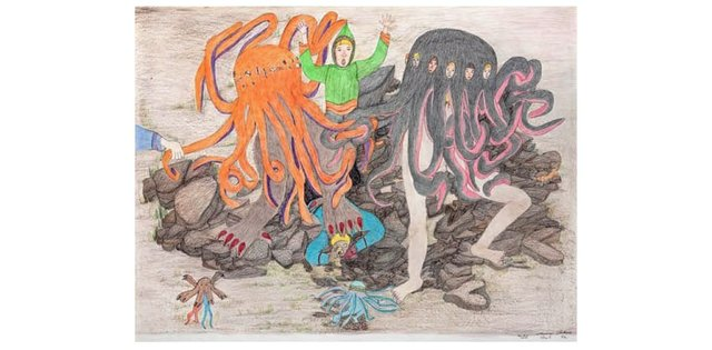"""Shuvinai Ashoona, """"Composition (Attack of theTentacle Monsters),"""" 2015"""