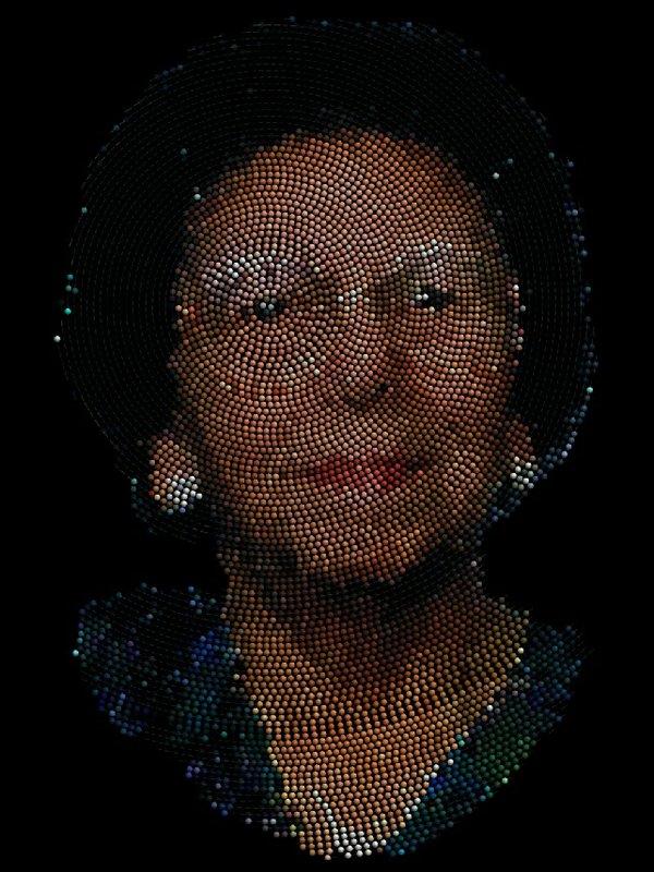 "Jon Corbett, ""Four Generations"", 2015, digitally-generated spiral-beaded portrait"