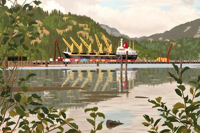 "E.J. Hughes, ""View of a Freighter, Cowichan Bay,"" 1930"