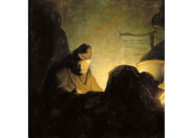 "Attributed to Rembrandt van Rijn, ""A Scholar by Candlelight,"" around 1628-1629"