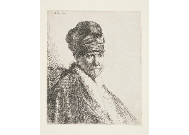 """Rembrandt van Rijn, """"Bust of Man Wearing a High Cap Three Quarters Right: The Artist's Father (?),""""1630"""
