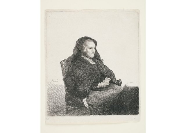 """Rembrandt van Rijn, """"The Artist's Mother Seated at a Table, Looking Right: Three-Quarter Length,""""circa1631"""