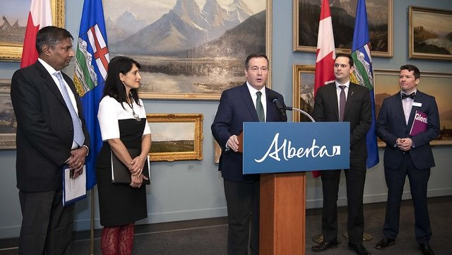 Premier Jason Kenney announces a major upgrade and modernization for the Glenbow Museum. Pictured (L-R): Infrastructure Minister Prasad Panda