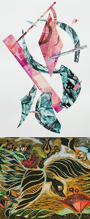 "Karen Nguyen, ""Universal,"" etching collage"