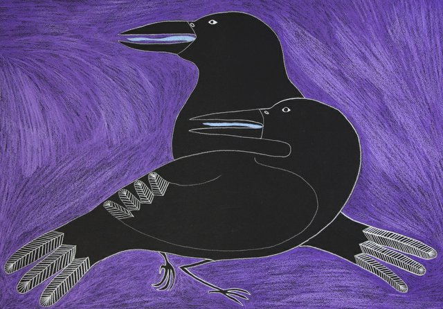 """Ningiukulu Teevee, """"Titled in Syllabics (Father and Son Ravens Talking About Male),"""" 2018"""