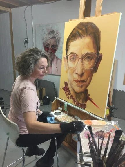 Shana Wilson paints Ruth Bader Ginsburg for Time magazine.