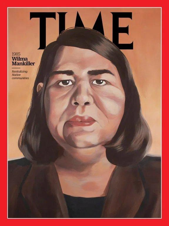 "Lauren Crazybull, ""Chief Wilma Mankiller"" for Time magazine."