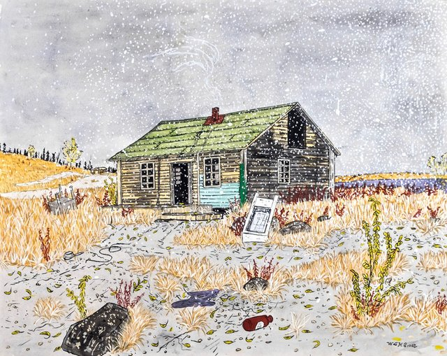 "Walt Humphries, ""Old Cabin (near old fish plant),"" 1982"