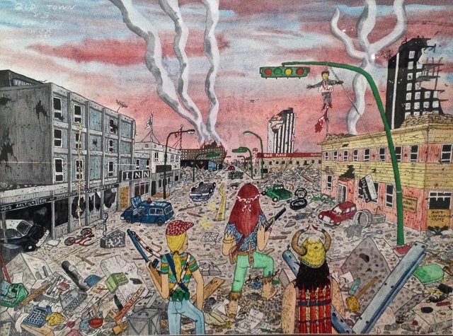 """Walt Humphries, """"Old Town vs. New Town,"""" 1985"""