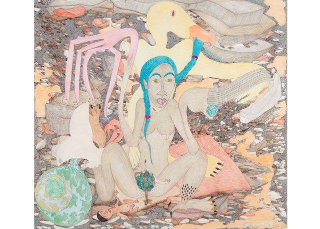 "Shuvinai Ashoona, ""Untitled (Birthing Scene),"" 2013"