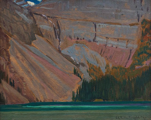 "J.E.H. MacDonald, ""Cliff and Mountain Lake,"" 1927"