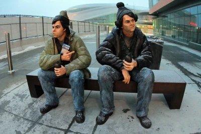 Bob and Doug McKenzie return to Edmonton as statues. (photo by Fish Griwkowsky Edmonton Journal)