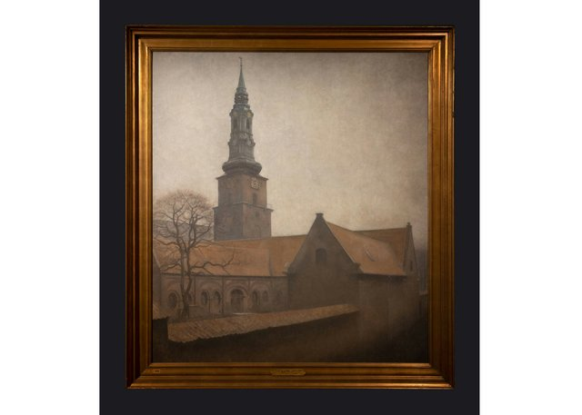 "Leslie Hossack's photograph of Vilhelm Hammershøi's 1906 painting ""St. Peter's Church""(collection of the National Gallery of Denmark (SMK)"