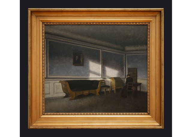 "Leslie Hossack's photograph of Vilhelm Hammershøi's 1910 painting, ""Sunshine in the Drawing Room"" (National Gallery of Canada)"