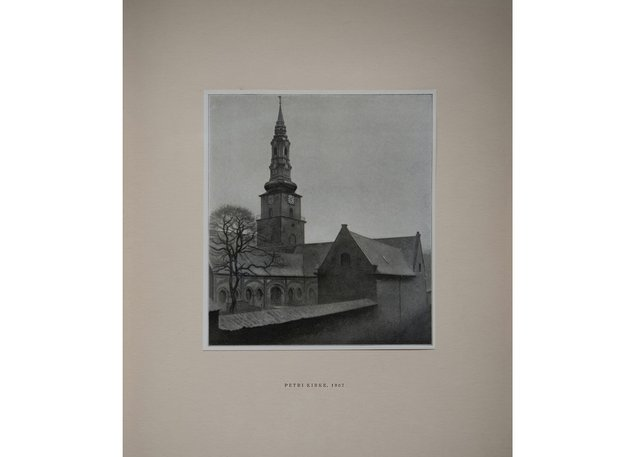 "Leslie Hossack's photograph of a 1918 reproduction of Vilhelm Hammershøi'spainting ""St. Peter's Church"" in ""Vilhelm Hammershøi, kunstneren og hans vaerk (The Artist and His Work)"" by Sophus Michaëlis and Alfred Bramsen"