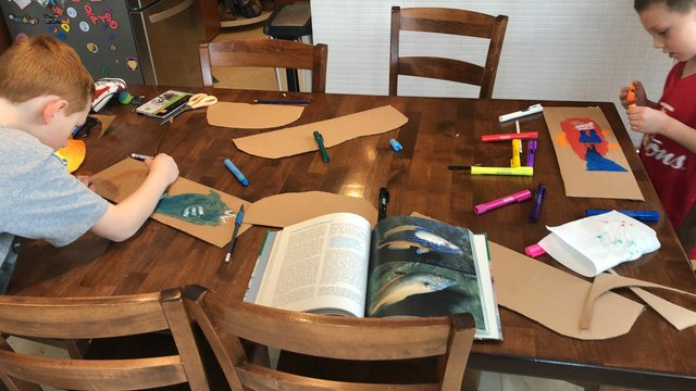 A book about undersea explorer Jacques Cousteau was the inspiration for Winnipeg art teacher Stacey Abramson and her sons, Simon, 9, and Louis, 6, to turn one of their hallways into an ocean using cardboard, wrapping paper, paint and markers.