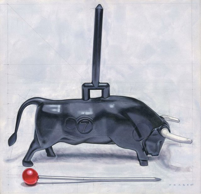 "Doug Fraser, ""Bull Pin,"" oil on panel, 20"" x 19.25 """