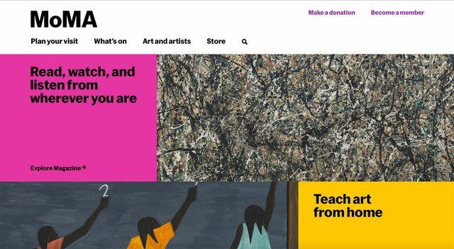 MoMA's home page directs visitors to a broad range of great digital content.