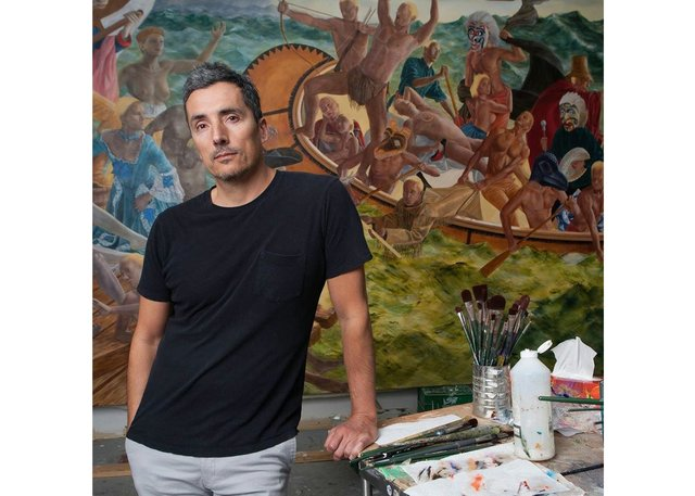 Kent Monkman in studio (photo by Samuel Engelking)