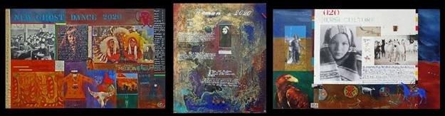 "Jane Ash Poitras, (l-r) ""6 FEET APART,"" mixed media on canvas"