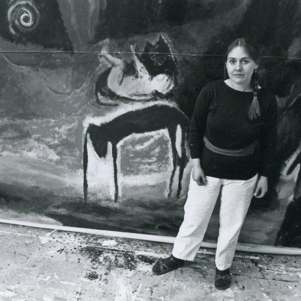 Landon Mackenzie in the studio, 1985