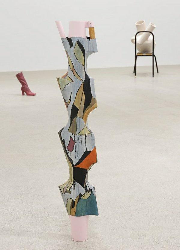 """Valérie Blass, """"Le diable est dans les détails,"""" 2019, pitchers, heat-shrink tubing, acrylic, oil, gouache, 47"""" x 9"""" x 4"""""""