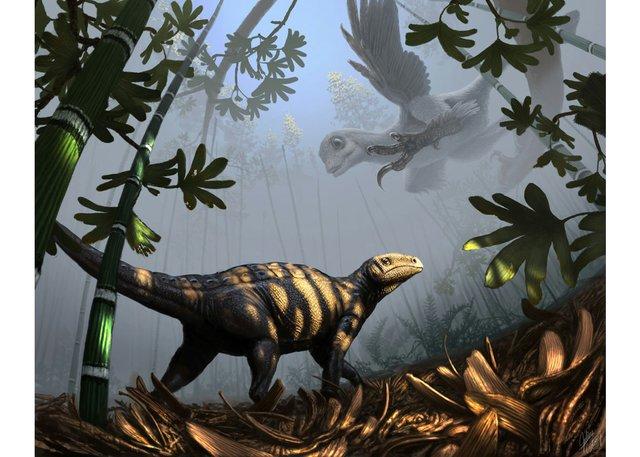 """Julius Csotonyi, """"SinornithosaurusAmbushesLiaoningosaurus,"""" 2014"""