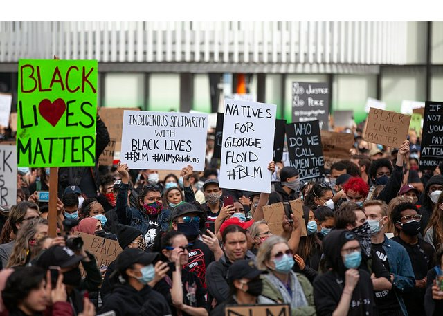 Black Lives Matter anti-racism rally last month at Vancouver Art Gallery.