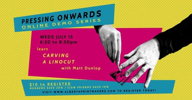 """Alberta Printmakers, """"Pressing Onwards: Carving Linocut,"""" 2020"""