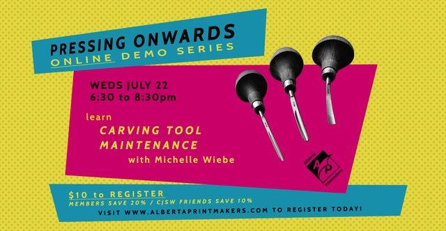 """Alberta Printmakers, """"Pressing Onwards: Carving Tool Maintenance,"""" 2020"""