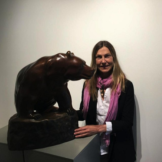 "Cathryn Jenkins, ""with Bear Sculpture,"" 2020"