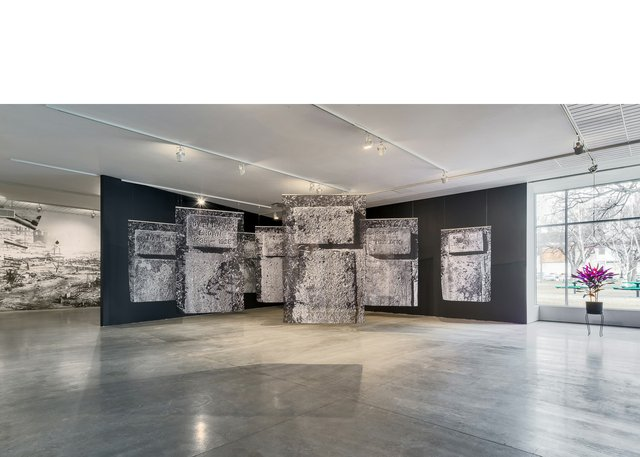 """Santiago Mostyn, """"Grass Widows,"""" 2020, installation view at Southern Alberta Art Gallery (photo by Blaine Campbell)"""