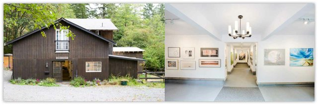Art In The Barn Gallery Inc. inside and outside, 2020