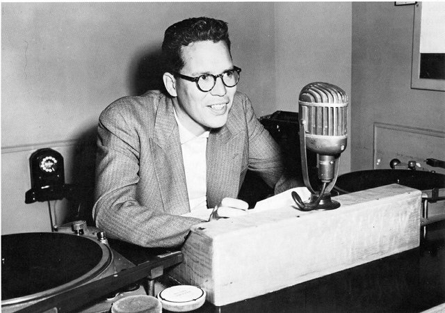 Bill Reid at the CBC around 1950. (courtesy of the CBC)
