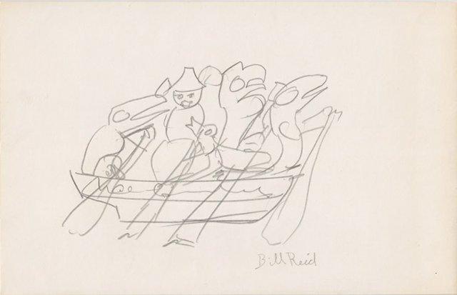 "Bill Reid, ""Sketch of the Spirit of Haida Gwaii,"" circa 1986, pencil on envelope (Bill Reid Foundation Collection; gift of Bill Ellis)"