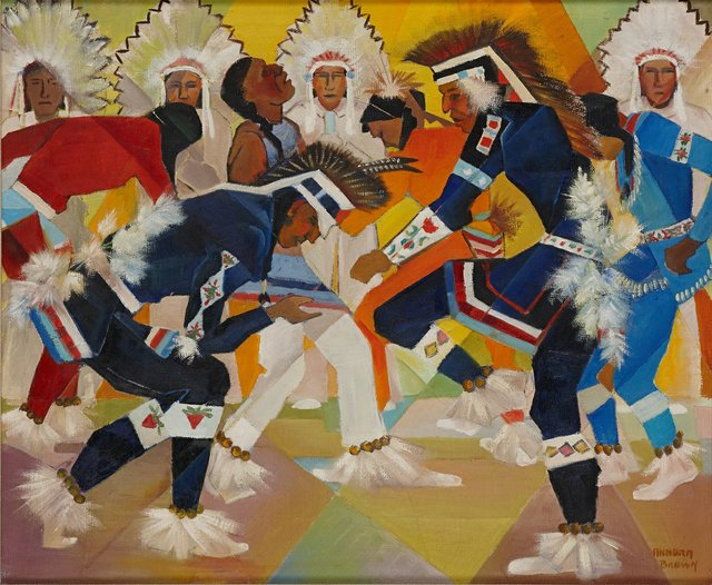 "Annora Brown, ""Prairie Chicken Dance, Blood Indian Reserve,"" 1954"