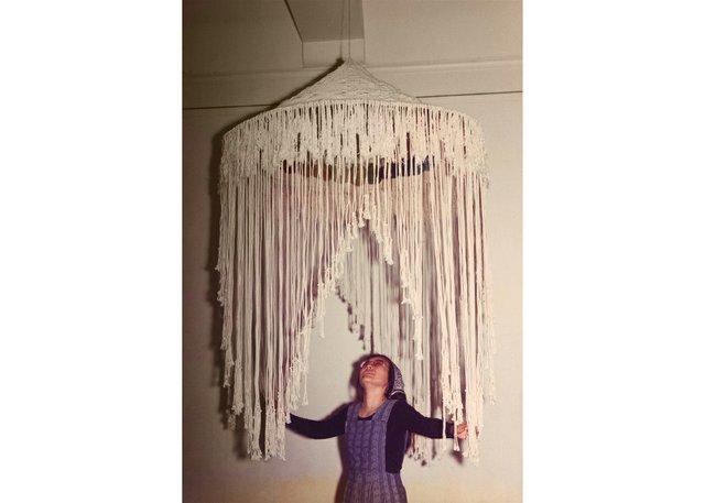 "Setsuko Piroche with her work ""Dizzy Dome,"" circa 1974"