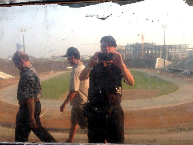 "Stephen Stober, ""Self-portrait, National Olympic Stadium, Phnom Penh, Cambodia,"" 2014"