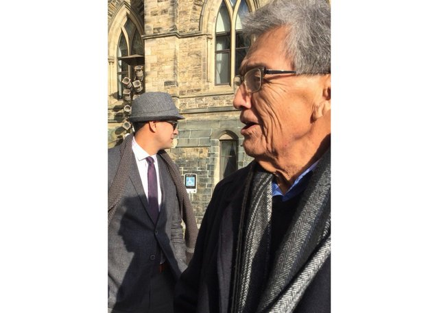 David A. Robertson and his father, Donald, outside the Parliament Buildings when they were in Ottawa for the 2017 Governor General's Literary Awards. (photo by Julie Flett, courtesy HarperCollins Publishing and David A. Robertson family collection)