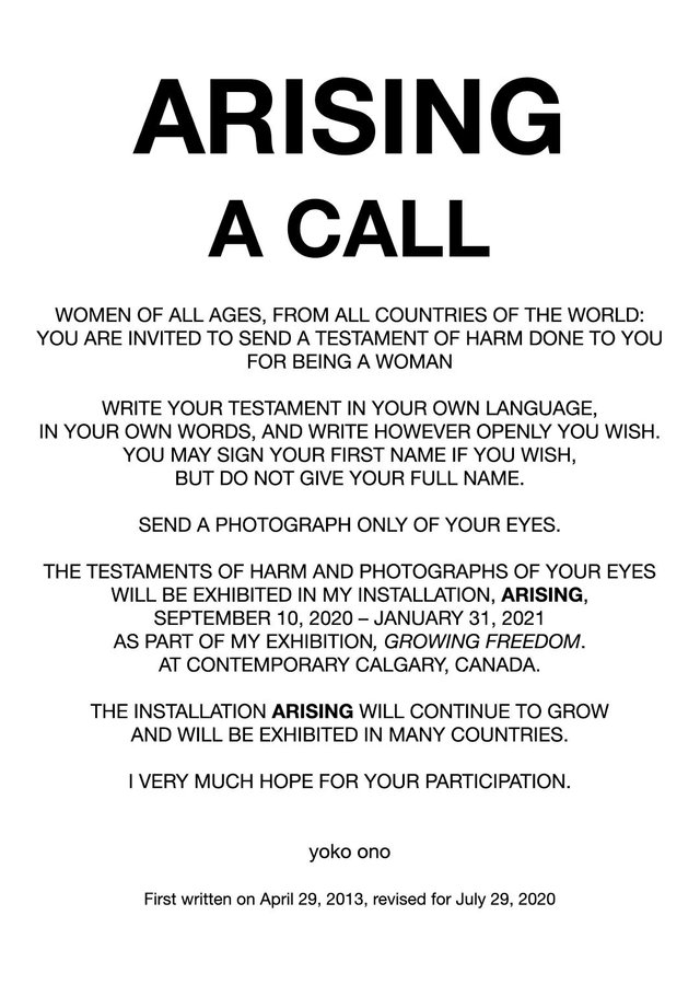"Yoko Ono, ""Arising—A Call,"" 2020"