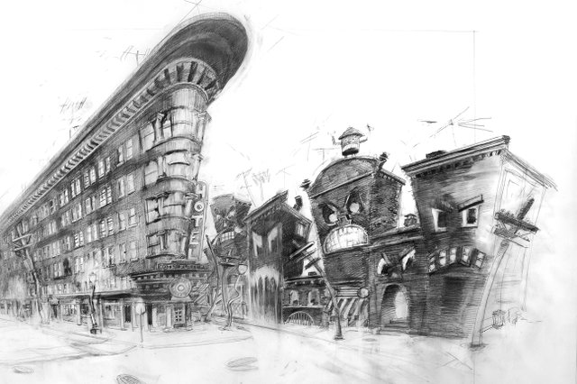 Neil Wedmandrawing for his Gastown riot project. (courtesy the artist; photo by Mark Mushet)