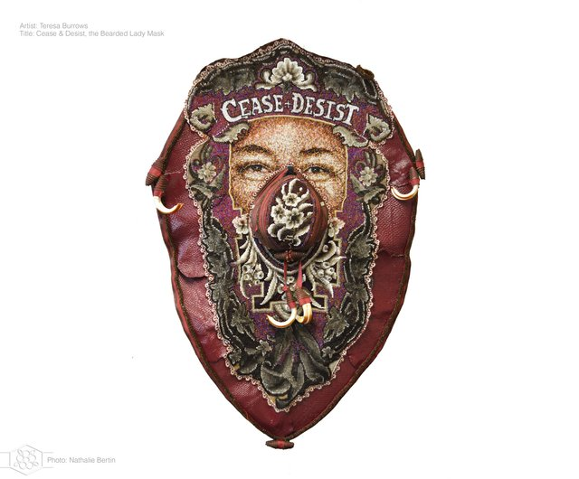 "Teresa Burrows, ""Cease & Desist: the Bearded Lady Mask,"" 2020, 70"" x 50"" x 10"" (image courtesy Nathalie Bertin)"
