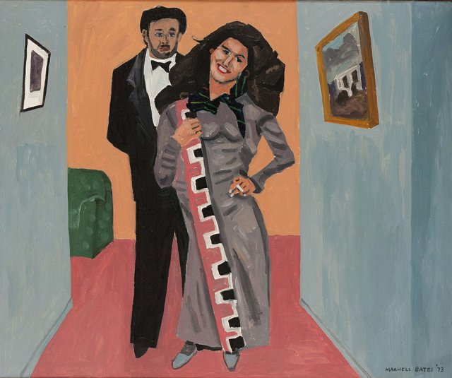 """Maxwell Bates, """"The Hostess,"""" 1973, oil on canvas (Collection of the Canada Council Art Bank)"""
