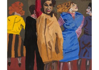 "Maxwell Bates, ""Party,"" 1976, charcoal and oil on canvas (Collection of the Canada Council Art Bank)"