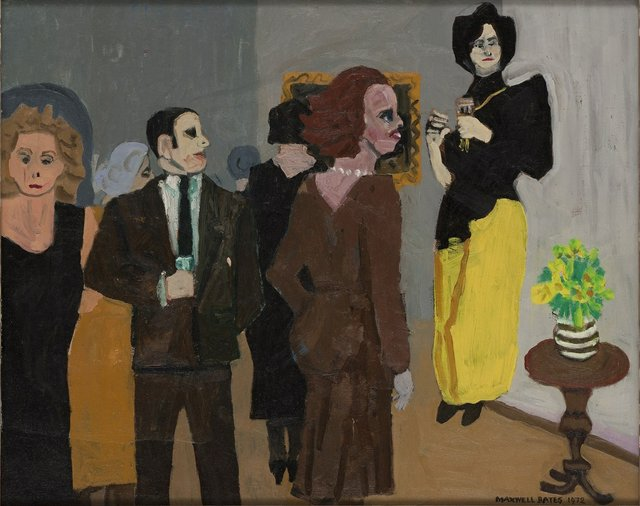 "Maxwell Bates, ""Yellow Reception,"" 1972, oil on canvas (Collection of University of Victoria Legacy Art Galleries, gift of Myfanwy Spencer Pavelic)"