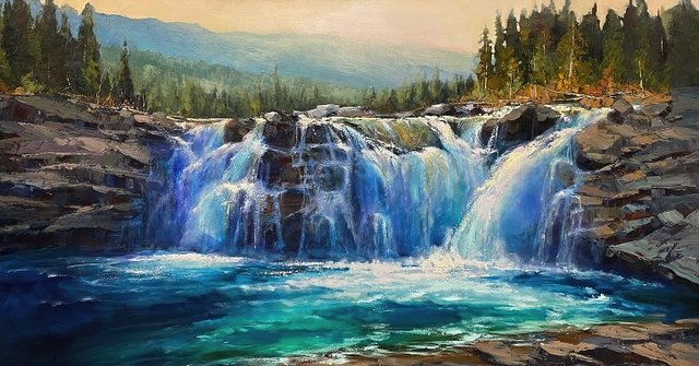 "Linda Wilder, ""Sheep River Falls,"" 2020"